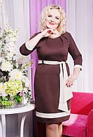 Размеры 50, 52, 54, 56.Платье женское батал Ксения шоколад большого размера приталенное трикотажное с поясом
