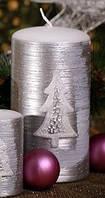 Свеча цилиндр 60х115мм. 1шт. Цвет серебро