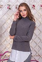 Женская серая кофта удлиненная теплая с ангоры