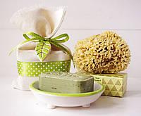 """Подарочный набор №4 """"Мыльница&Nablus&Морская губка"""" оливковый, фото 1"""