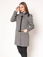 Женское демисезонное пальто Диана-твид с рукавами фонариками и вставки кожа