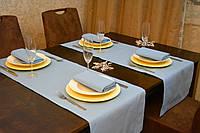 Раннер/ дорожка и салфетки (2 шт. + 4 шт.) для стола Канзас голубой Набор текстильный на кухню №1
