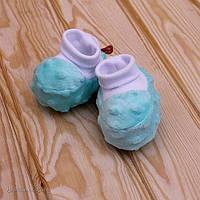 """Детские велюровые пинетки """"Minky"""" для новорожденных (бирюзовый)"""