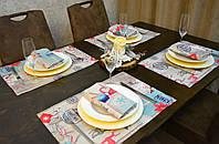 Подставки и салфетки ( 4 шт.+ 4 шт.) для стола Новогодний Адамс Набор текстильный на кухню №2