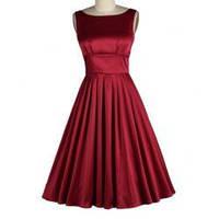 MD-15620 Красное атласное платье в классическом уже стиле New Look