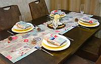 Раннер/дорожка и салфетки (1шт. + 4 шт.) для стола Новогодний Адамс Набор текстильный для кухни №3