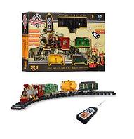 Железная дорога 0622/40353 на радиоуправлении, дым, музыка, свет, локомотив 27 см, 2 вагона.