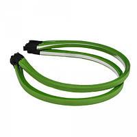Обруч металлический с атласной лентой зеленого цвета