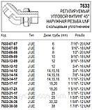 Регулируемый угловой фитинг 45°, JIC, 7633, фото 4