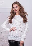 Женский теплый шерстяной свитер с бантом на спине