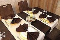 Раннер/дорожка и салфетки (2 шт.+ 4 шт.) для стола Канзас бежевый Набор текстильный для кухни №1