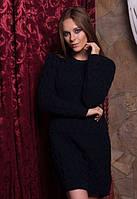 Вязаное шерстяное платье до середины бедра теплое   3 цвета