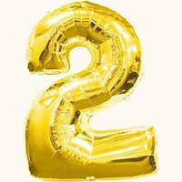 """Воздушный шар цифра """"2"""" золотой,золото,золотая"""
