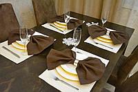 Подставки и салфетки (4 шт.+ 4 шт.) для стола Канзас бежевый Набор текстильный для кухни №2