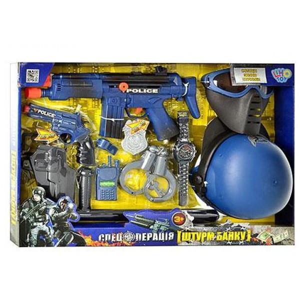 Набор полиции 33540. Игровой набор, 12 предметов, автомат, пистолет,кобура,маска,наручники. Набор полицейского
