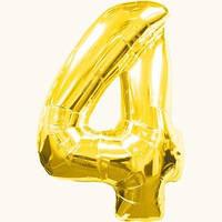 """Воздушный шар цифра """"4"""" золотой,золото,золотая"""