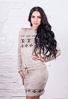 Женское теплое вязаное шерстяное платье на зиму 5 цветов