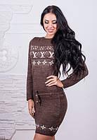 Женское теплое вязаное шерстяное платье на зиму