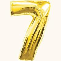 """Воздушный шар цифра """"7"""" золотой,золото,золотая"""