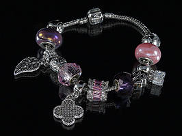 """Браслет Pandora """"листик"""" (розовый)"""