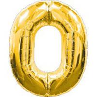 """Воздушный шар цифра """"0"""" золотой,золото,золотая"""
