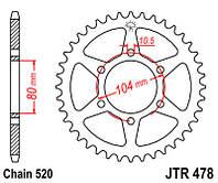 Звезда задняя JT JTR478.43