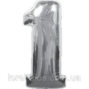 Воздушные фольгированный шар цифра серебро 1