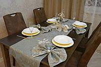Раннер/дорожка и салфетки Жакард (1шт.+ 4 шт) для стола Вензель Бирюза Набор текстильный на кухню №3
