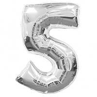 Воздушный фольгированный шар цифра серебро 5