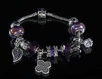"""Браслет Pandora """"листик"""" (фиолетовый)"""