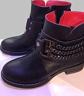 Женские кожаные демисезонные зима ботинки челси Hermes с цепями,на низком  каблуке,36 d3b19c17b8e