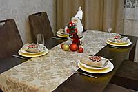 Раннер/дорожка и салфетки Жакард (1шт.+4 шт) для стола Вензель Бежевый Набор текстильный на кухню №3