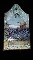 """Разделочная доска """"Велосипед"""" из бука декупаж, промасленная, 21*14 см., 65/60 (цена за 1 шт.+5 грн)"""