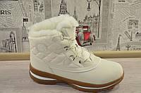 Зимние женские кроссовки ботинки с мехом белые высокие Тимберленды натуральный мех