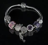 """Браслет Pandora """"яблоко"""" (розовый-фиолетовый)"""