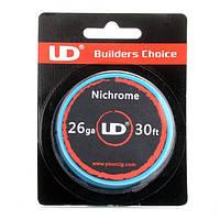 Нихром для намотки спиралей Nichrome UD, 26 AWG / 0,4 мм/ 8,67 Ом/м (10 метров)