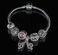 """Браслет Pandora """"колокольчики"""" (розовый)"""