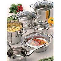 Набор посуды BergHOFF Tulip с стеклянными крышками из 12 предметов  нержавеющая сталь