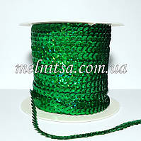 Пайетки на нитке, зеленые, голограмма, 6 мм