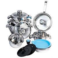 Набор посуды BergHOFF Invicо из 16 предметов с стеклянными крышками нержавеющая сталь