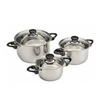 Набор посуды BergHOFF Vision Premium из 6 предметов с стеклянными крышками нерж сталь