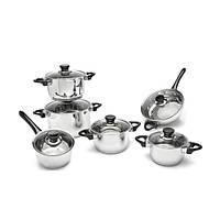 Набор посуды BergHOFF Vision Premium из 12 предметов с стеклянными крышками нерж сталь