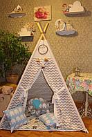 """Детский игровой домик, вигвам, палатка, шатер, шалаш """"Серо-голубой слоненок"""""""
