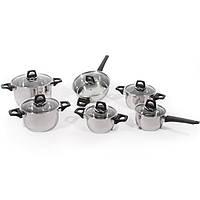 Набор посуды Vision 12 предметов с стеклянными крышками нерж сталь