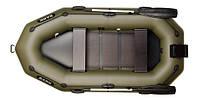 Лодка двухместная гребная, привальный брус, 4 ручки, реечный настил, навесной транец, комплект Bark B-260NP