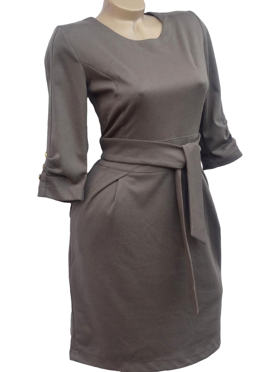 Классическое платье с пояском (в расцветках 42,44)