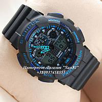 Неубиваемые спортивные наручные часы Casio G-shock GA-100 разных цветов Синий Черный Черный, фото 1