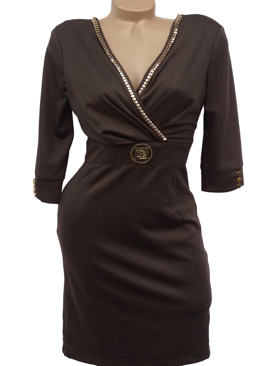 Вечернее платье с декольте (коричневый 42)