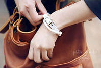 Кожаный браслет - ремешок white (белый)
