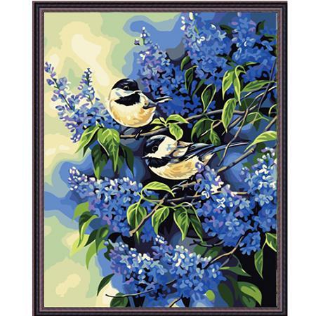 Картина с цифрами Птички на ветках сирени